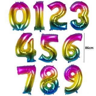 86cm XXL Zahlenballon 0 - 9 regenbogen Folienballon Zahl Helium Luftballons bunt