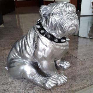 BULLDOGGE Chrom Dekofigur 38cm chrom sitzend Kusntstein Hund Figur Statue #3029