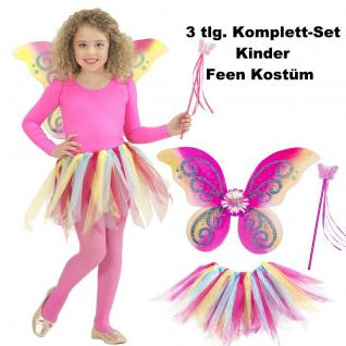 Kinder Feen Kostüm Set 3tlg. Tüllrock Flügel Zauberstab Bunt - Schmetterlingsfee