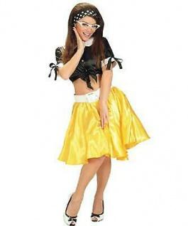 SATIN ROCK mit PETTICOAT gelb Rock´n Roll 50er Jahre Damen Kostüm (8068)