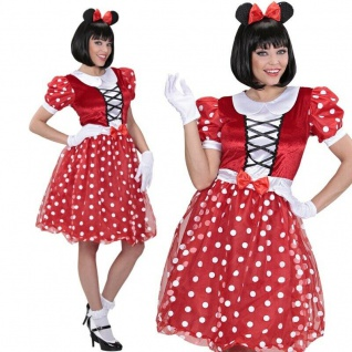 Sexy Minnie Maus Damen Kostüm Mäuschen - Kleid + Ohren auf Haarreif - Karneval