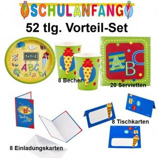 SCHULANFANG 52 tlg. Vorteil-Set ( A) Einschulung Party Deko - Teller Becher