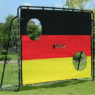 Fußballtor Metall + Torwand mit 2 Schusslöchern Deutschland Fussball 213x152cm