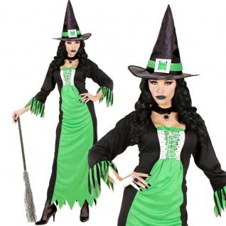 WOW Greenwitch Hexen Damen Kostüm langes grün/schwarzes Kleid mit Hut Halloween