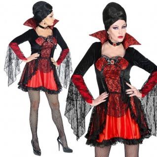 VAMPIRIN VAMPIR edles Damen Kostüm S 34/36 - Kleid mit Halsband Halloween #7575