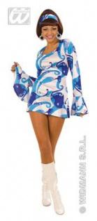 HIPPIE KLEID BLAU 70er Jahre Stil Gr. S 34 36 Damen Köstüm Fasching Karneval