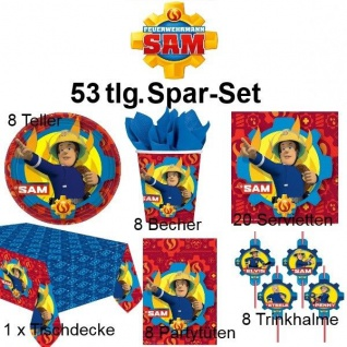 53tlg. Spar-Set SAM FIREMAN Kinder Geburtstag Party Deko Pferd Teller Becher
