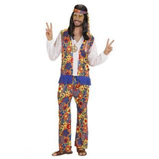HIPPY KOSTÜM für Männer M 50 Hippie Verkleidung 70er Jahre Flower Power 70ties