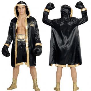 "Boxer Herren Kostüm "" World Champion"" Boxermantel, Shorts, Gürtel, Boxhandschuhe"