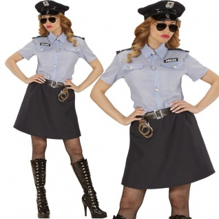 POLIZISTIN Damen Kostüm Gr. S (34/36) Bluse, Rock, Gürtel, Hut Polizei #0401