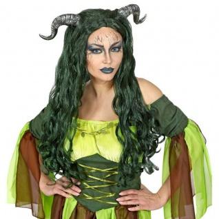 WALDHEXEN DAMEN PERÜCKE MIT HÖRNER Hexen Kostüm Halloween Dämonen Karneval #4459