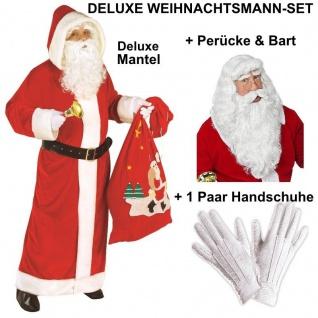DELUXE WEIHNACHTSMANN Set - Samt Mantel + exclusive Perücke & Bart + Handschuhe