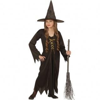 HEXE Kinder Kostüm mit Hut Hexenkostüm Mädchen Kleid Halloween Gr. 128 140 158