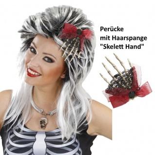 TOP Damen PERÜCKE mit Haarspange/Brosche SKELETTHAND Zombie Halloween Hexe