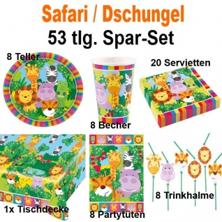 53 tlg. Super Spar-Set SAFARI DSCHUNGEL TIERE Kinder Geburtstag Party Deko