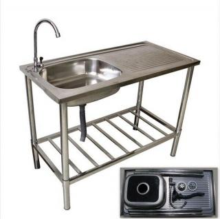 Edelstahl Waschtisch für Garten Spültisch für Camping Outdoor Spülbecken