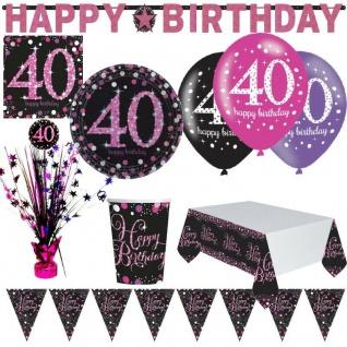 40. Geburtstag Jubiläum Feier Pink Schwarz Party Deko Set Zahl 40 - PREISHIT -