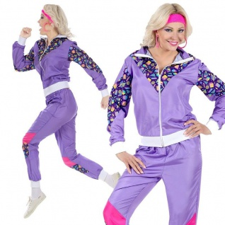 80er Trainingsanzug Gr. M 38/40 Damen Sport Kostüm Jogginganzug lila/pink #0020