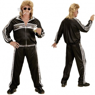 80er 90er JOGGINGANZUG M (50) schwarz-silber Kostüm Motto Party Trainingsanzug