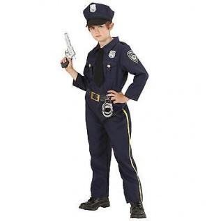 POLICEMAN Kostüm Polizist Jungen Gr. 128 Hemd mit Schlips, Hose und Mütze