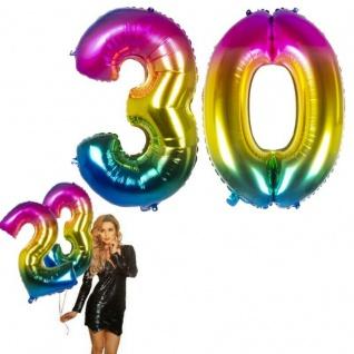 30.Geburtstag XXL FOLIENBALLON Zahl 86cm Regenbogen bunt Helium Luftballon