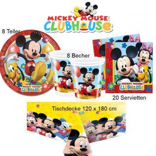 Micky Maus Mickey Mouse Geburtstag - Teller Becher Servietten Tischdecke 37 tlg