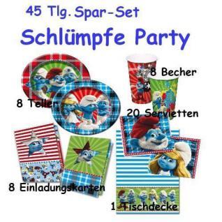 45 tlg. Set SCHLÜMPFE Party Kinder Geburtstag - Teller, Becher, Servietten, Tischde