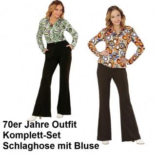 70er Jahre Damen SCHLAGHOSE + Bluse - schwarz Kostüm Disco Hippie Schlager Motto
