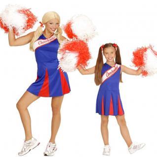 Damen Kinder Cheerleader Kleid Sport Kostüm blau-rot Gr. 104 cm bis Gr. 44