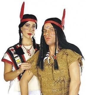 INDIANERIN DAMEN PERÜCKE + Feder Indianerfrau Squaw Indianer Kostüm 6003