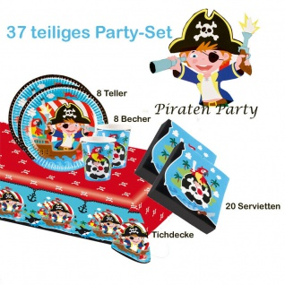 Piraten Seeräuber Set 37 tlg.Party KINDER GEBURTSTAG Teller Becher Servietten
