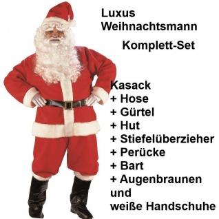 LUXUS NIKOLAUS KOSTÜM mit Handschuhe - Weihnachtsmann Komplettset Gr. 48 56