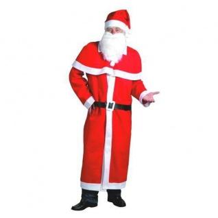 NIKOLAUS MANTEL Kostüm-Set 5-teilig Mütze Bart Gürtel Weihnachtsmann Set