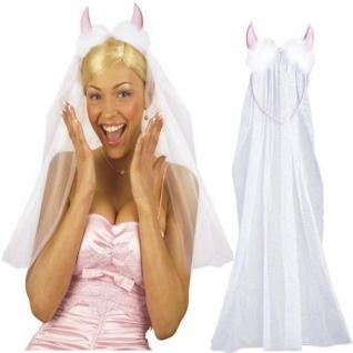 Haarreif weißer Schleier mit rosa Hörner Brautschleier Junggesellinenabschied