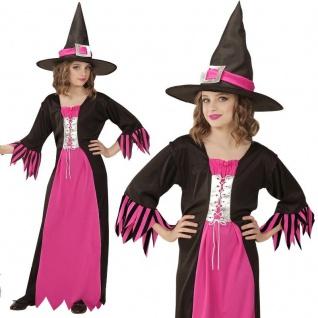 HEXE Kinder Kostüm Gr.140 Mädchen Kleid pink/schwarz Zauberin Halloween #7257