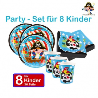 Piraten Seeräuber Set 8 KINDER GEBURTSTAG Party Teller Becher Servietten