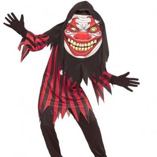 Kinder Jungen Kostüm HORROR CLOWN 158 (11-13 J.) Big Face Halloween großer Kopf