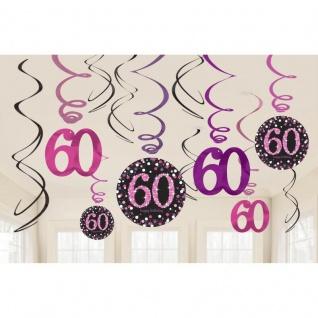 60. Geburtstag Party 12 Swirl Girlanden Glamour Pink Schwarz Raum Deko #0621
