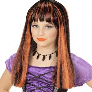 Kinder Gothic Perücke Hexe schwarz orangefarbene Strähnchen Halloween Zauberin