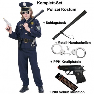 Polizist Polizei Police Officer Kinder Jungen Kostüm Komplett Set - Karneval NEU