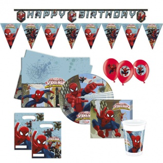 Spiderman 51 tlg.Set Kinder Geburtstag Teller Becher Servietten Party