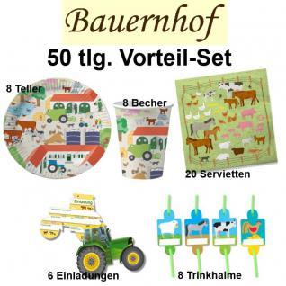 50 tlg. Vorteil-Set BAUERNHOF Kinder Geburtstag Party Deko - Teller Becher -DHK