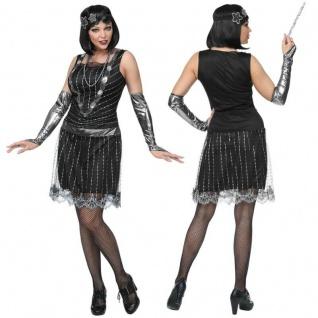 Extravagantes 20er Jahre Charleston Damen Kostüm Kleid Flapper schwarz/silber