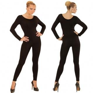 Einteiler Damen Body Overall Jumpsuit lang Sport schwarz, Langarm Gr. S - XL