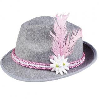 TIROLER Hut pink/weiße Kordel mit Feder - Oktoberfest Trachten Damen Hut #243