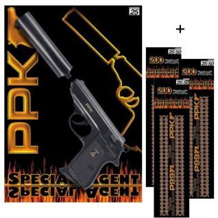 PPK Agent Pistole mit Schalldämpfer + 600 Schuß Munition Kinder Spielzeug