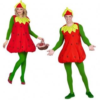 ERDBEER KOSTÜM rot Unisex Frucht Erdbeere Verkleidung Kleid Karneval Fasching