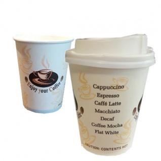 50 Kaffeebecher Coffee to go Becher mit Deckel 0, 2l Hartpapierbecher Pappbecher