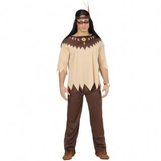 3 tlg. INDIANER Herren Kostüm Gr. L (52) Jacke, Hose, Stirnband - Karneval #0721