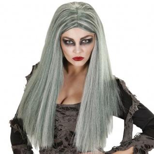 Langhaar Damen Perücke HEXE ZOMBIE grau lang Hexenperücke Halloween #6740